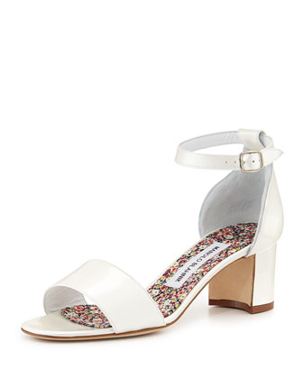 Lauratomod Pearlescent Patent Sandal, Off White