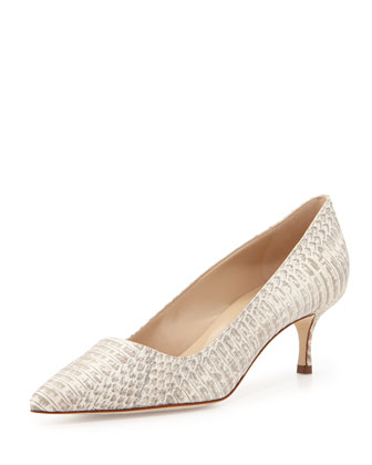 BB Snakeskin 50mm Pump, White/Gray