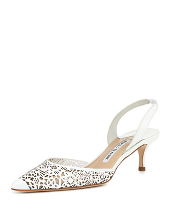 Carolyn Laser-Cut Patent Low-Heel Halter Pump, White