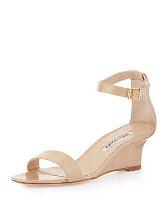 Valere Patent Demi-Wedge Sandal, Nude