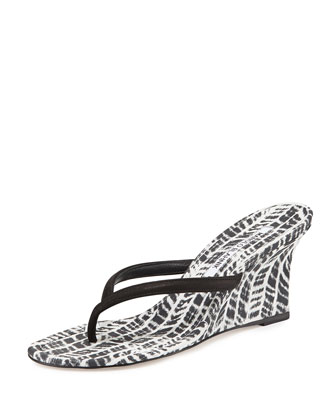 Patwedfac Printed Thong Wedge Sandal, Black/White