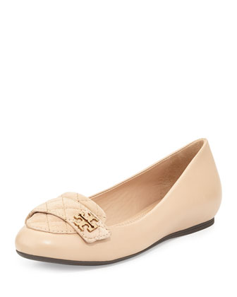 Leila Quilted Ballerina Loafer, Beige