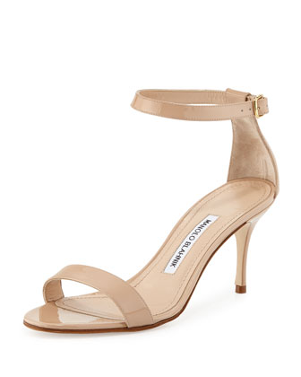 Chaos Patent Ankle-Strap Sandal, Nude