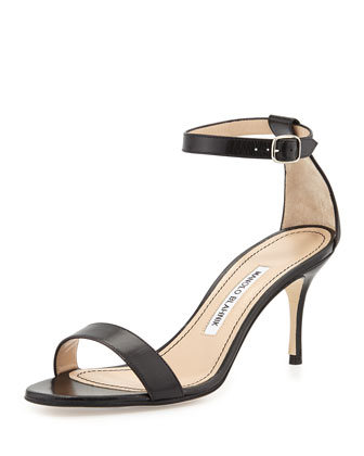 Chaos Leather Low-Heel Sandal, Black