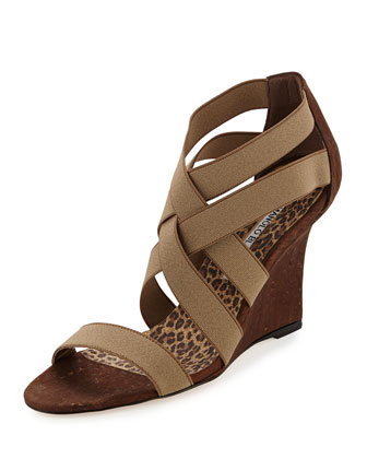 Glassa Strappy Cork Wedge Sandal, Taupe