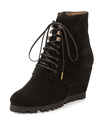 Fiona Lace-Up Wedge Boot, Black