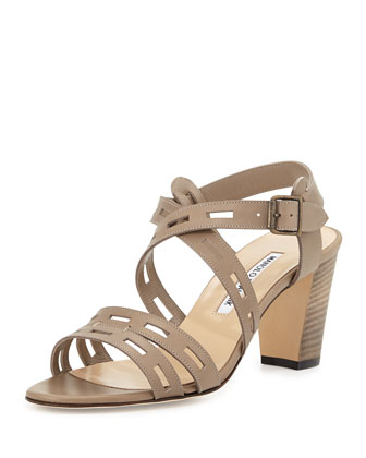 Leather Cutout Strappy Sandal, Gray