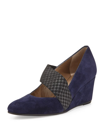 Katia Stretch-Strap Suede Wedge, Midnight