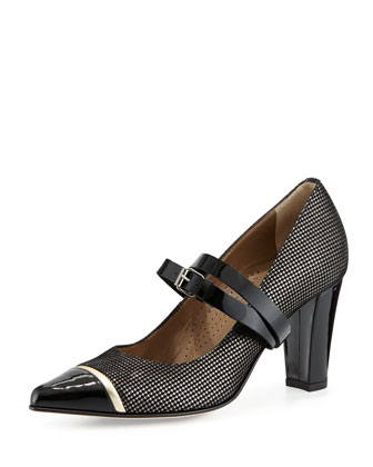 Stefania Houndstooth Mary Jane Pump