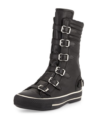 Vulcano Buckled High-Top Sneaker, Black