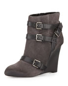 Maggie Belted Wedge  Bootie