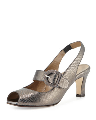 Tulip Metallic Slingback Pump, Pewter