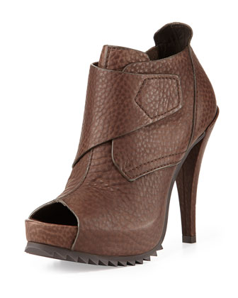 Chenoa Pebbled Peep-Toe Bootie, Dark Gray