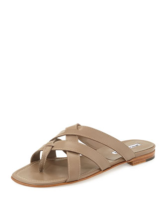 Lascia Woven Leather Thong Sandal, Taupe