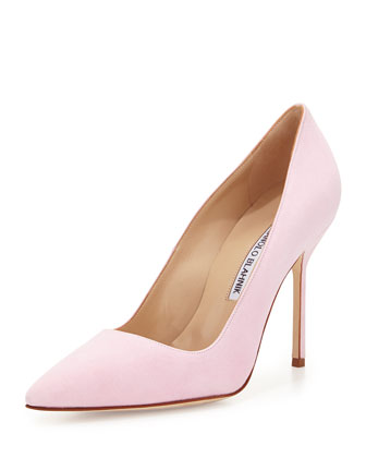 BB Suede 105mm Pump, Light Pink