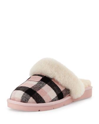 Cozy Plaid Shearling Slipper, Pink