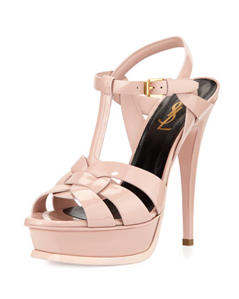 Tribute Patent Leather Platform Sandal, Light Rose