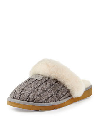 Cozy Knit Shearling Slipper, Heather Gray