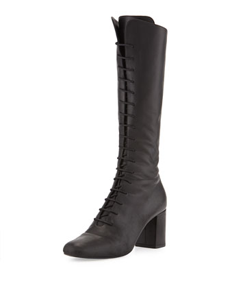 Napa Leather Lace-Up Boot, Nero