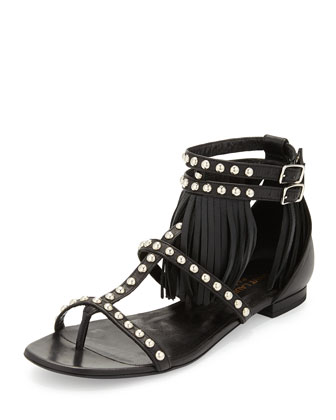 Studded Leather Fringe Sandal, Nero