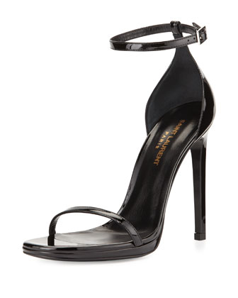 Patent Ankle-Wrap Sandal, Black