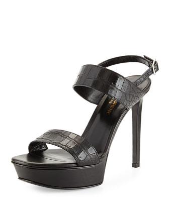 Crocodile-Embossed Platform Sandal, Noir