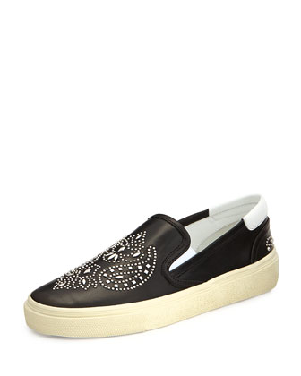 Bandana Studded Leather Skate Shoe, Noir