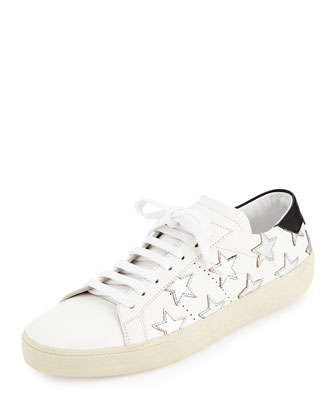 Glitter Stars Leather Sneaker, Blanc/Optique