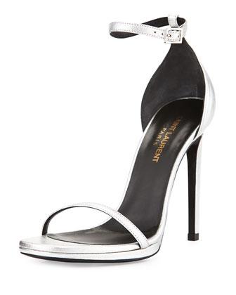 Metallic Ankle-Wrap Sandal, Platine