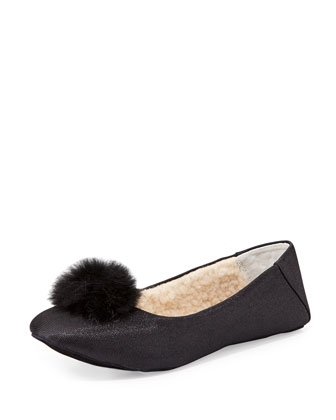 Bel Esprit Pom Pom Slipper, Black