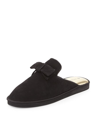 Daria Nubuck Bow Slipper, Black