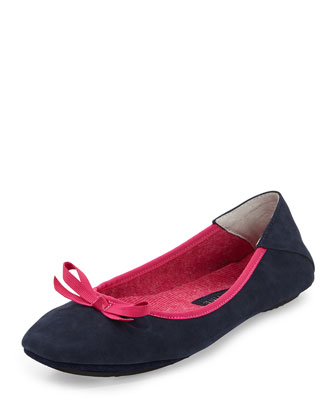 Inslee Nubuck Slipper, Navy/Pink