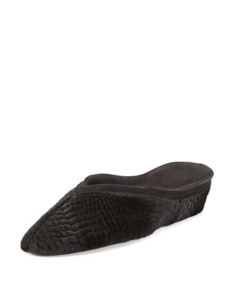 Crocodile-Stamped Velvet Mule Slipper, Black