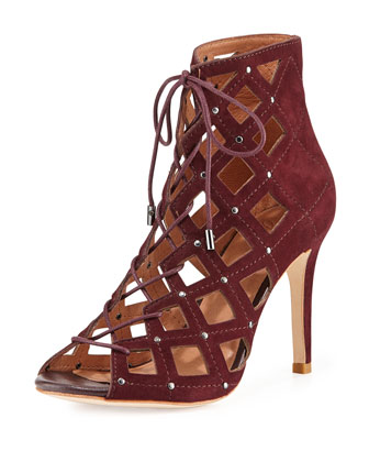 Cayla Studded Suede Cage Bootie, Wine