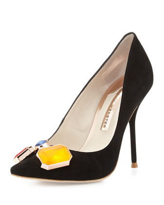 Lola Jeweled Suede Pump, Black