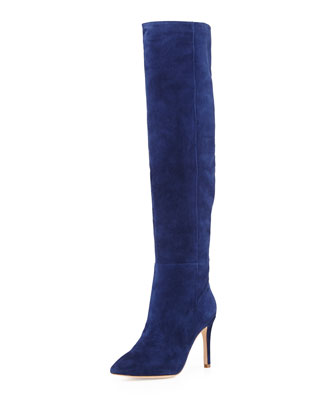 Olivia Suede Knee Boot, Sapphire