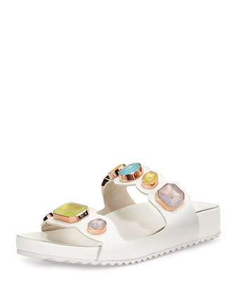 Becky Gem Slide Sandal, White