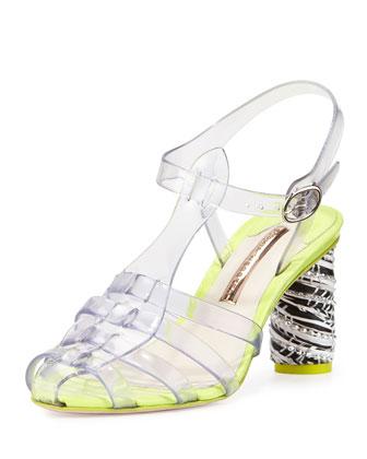 Rosa Mid-Heel Jelly Sandal, Crystal Vinyl