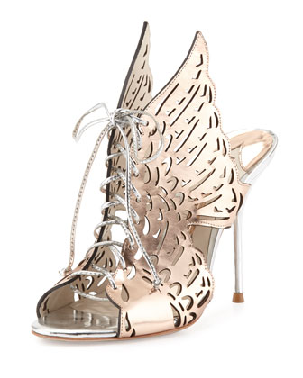 Cherub Winged Lace-Up Mule, Rose Gold/Silver