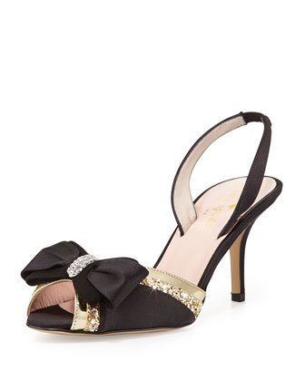 solar satin bow slingback, black