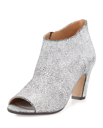 Craquele Textured Leather Bootie, Optic White/Black