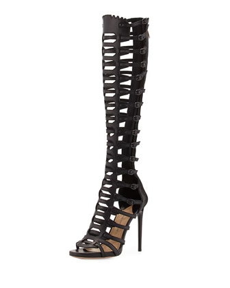 Athena Caged Knee-High Sandal, Black