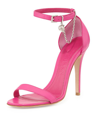 Ankle-Wrap d'Orsay Sandal with Skull Charm, Bougainvillea