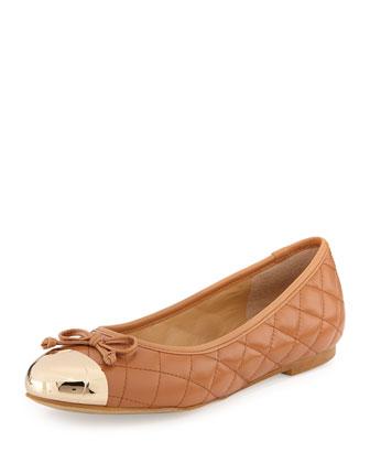Lalo Quilted Metallic Cap-Toe Ballet Flat, Cognac