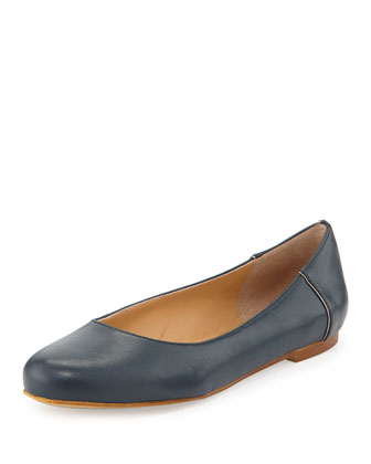 Lulu Pipe-Trimmed Leather Ballet Flat, Navy