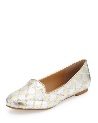 Charlotte Metallic Checked Leather Loafer, Silvertone/Golden
