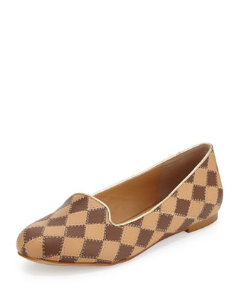 Charlotte Checked Leather Loafer, Brown/Camel