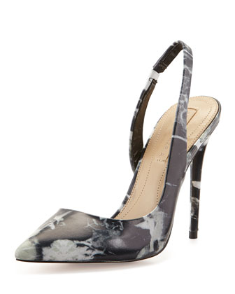 Acrobat Abstract-Print Slingback Pump, Black