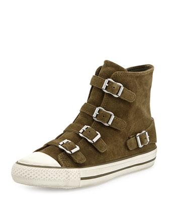 Buckled Suede High-Top Sneaker, Military
