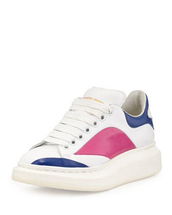Colorblock Lace-Up Sneaker, White